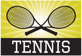Tennis Crossed Rackets Yellow Sports Poster Print Prints