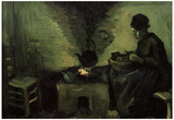 Vincent Van Gogh Peasant Woman by the Fireplace Art Print Poster Posters