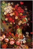 Vincent Van Gogh Vase with Poppies Cornflowers Peonies and Chrysanthemums Art Print Poster Prints by Vincent van Gogh