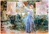 Berthe Morisot The Farmer Hanging Laundry Impressionist Art Print Poster Prints