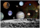 The New Solar System Planets Jupiter Moons Rosette Nebula Space Art Poster Print Kunstdrucke