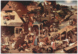 Pieter Brueghel - The Dutch Proverbs, Art Poster Print Posters