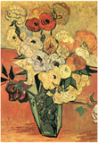 Vincent Van Gogh Still Life with Japanese Vase Roses and Anemones Art Print Poster Print