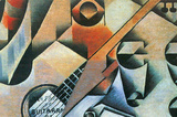 Juan Gris Banjo Guitar and Glasses Cubism Art Print Poster Masterprint