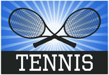 Tennis Crossed Rackets Blue Sports Poster Print Prints