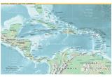 Mapa de América Central y Caribbe (política) Art Poster Print Póster
