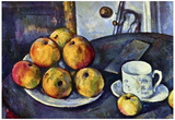 Paul Cezanne Still Life with a Bottle and Apple Cart Art Print Poster Prints