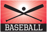 Baseball Red Sports Poster Print Poster