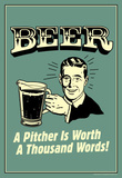 Beer Pitcher Worth A Thousand Words Funny Retro Poster Masterprint