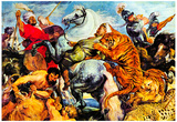 Peter Paul Rubens (Tiger and lion hunting) Art Poster Print Plakat