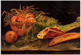 Vincent Van Gogh Still Life with Apples Meat and a Roll Art Print Poster Print