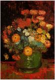 Vincent Van Gogh Vase with Zinnias Art Print Poster Poster