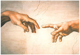 Michelangelo Creation of Adam Detail Sistine Chapel Art Print Poster Plakater