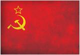 Soviet Flag Distressed Art Print Poster Prints