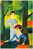 August Macke Two Girls in the Forest Art Print Poster Prints