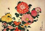 Katsushika Hokusai Chrysanthemums & Bee, Art Poster Print