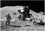 Moon Landing Salute Black White Archival Photo Poster Print Print