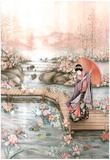 Asian Lady Fish Pond Art Print POSTER GARDEN Print