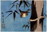 Utagawa Hiroshige Sparrow and Bamboo Art Print Poster Pôsters