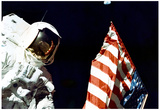 Moon Landing Astronaut with Flag Archival Photo Poster Print Posters