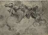 Leonardo da Vinci (Dragon Fight) Art Poster Print Prints