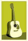 Acoustic Guitar Green Music Poster Print Poster