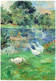 Berthe Morisot Girls in a Boat with Geese Art Print Poster Print