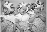 Triplets Getting Their Hair Done Archival Photo Poster Print Posters