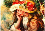 Pierre-Auguste Renoir (Two girls reading in a garden) Art Poster Print Photo