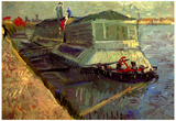 Vincent Van Gogh Bathing Float on the Seine at Asniere Art Print Poster Posters