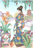 Asian Lady with Fan Lithograph Poster Prints