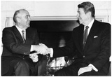 President Ronald Reagan and Mikhail Gorbachev Archival Photo Poster Print Poster