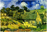 Vincent Van Gogh Thatched Cottages at Cordeville Art Print Poster Fotografie