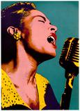 Billie Holiday, blå popart, Musikplakat Plakat