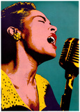 Billie Holiday su sfondo blu, Poster musica, Pop art Stampa