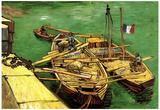 Vincent Van Gogh Quay with Men Unloading Sand Barges Art Print Poster Poster