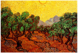 Vincent Van Gogh Olive Trees with Yellow Sky and Sun Art Print Poster Posters