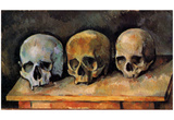 Paul Cezanne (Still Life, Three skulls) Art Poster Print Prints