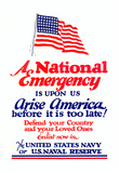 A National Emergency is Upon Us Arise America Navy Naval Reserve WWII War Propaganda Art Poster Prints