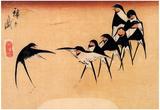 Utagawa Hiroshige Dancing Swallows Art Print Poster Posters