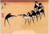 Utagawa Hiroshige Dancing Swallows Art Print Poster Prints