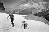 Mountain Climbing Family in Snow Archival Photo Poster Print Masterprint