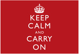 Keep Calm and Carry On (Motivational, Red, Horizontal) Art Poster Print Prints