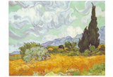 Vincent Van Gogh (Wheatfield with Cypresses) Art Poster Print Posters