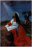 Black Jesus Christ Kneeling religious Print Poster Plakat