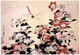 Katsushika Hokusai Chinese Bell Flowers and a Happy Dragon-fly Art Poster Print Poster