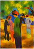 August Macke Lady in a Green Jacket Art Print Poster Posters