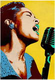 Billie Holiday Yellow Pop Art Music Poster Prints