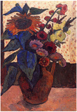 Paula Modersohn-Becker Still Life with Sunflowers Hollyhocks and Georgia Art Print Poster Prints