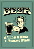 Beer Pitcher Worth A Thousand Words Funny Retro Poster Plakater